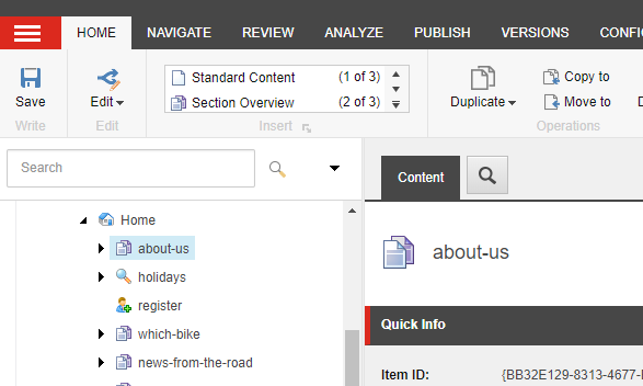 About Us page example in the Sitecore Tree