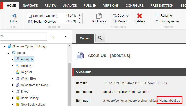 URL indicator on a Sitecore item