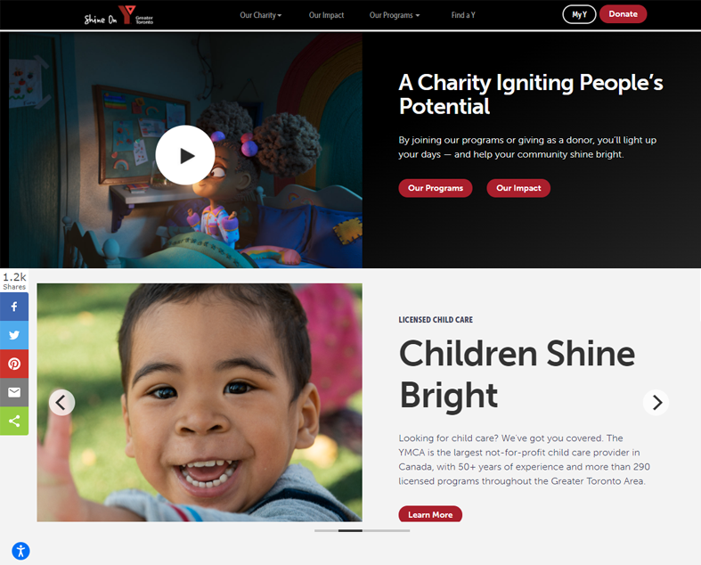 YMCA website screenshot