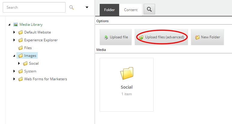 Media Library upload advanced button
