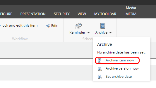 Archive item option